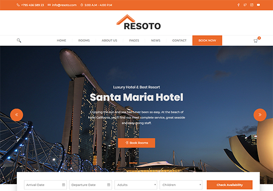 Resoto - Freemium Hotel WordPress Theme Demo