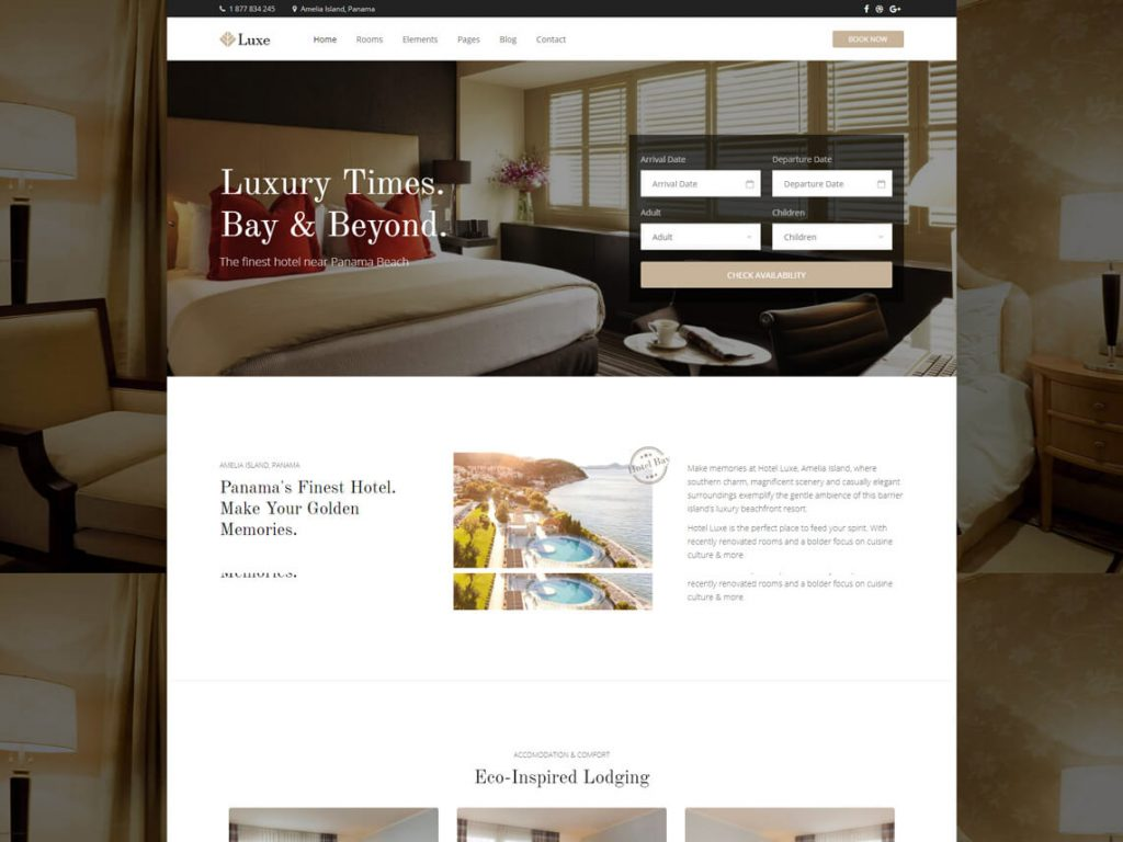 Luxe: Best WordPress Hotel and Resort Themes