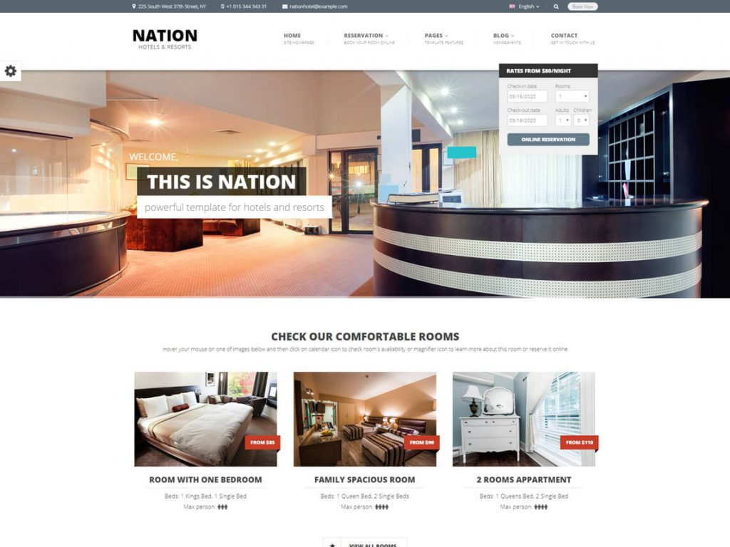 Nation Hotel: Best WordPress Hotel and Resort Themes