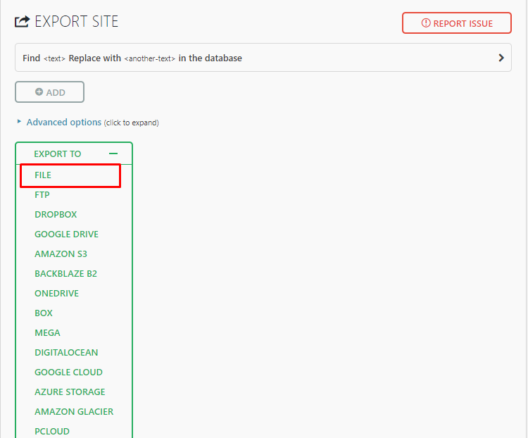 Migrate WordPress: Export Page